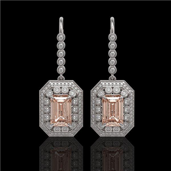 12.1 ctw Morganite & Diamond Victorian Earrings 14K White Gold - REF-410G4W