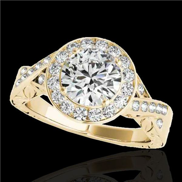 1.75 ctw Certified Diamond Solitaire Halo Ring 10k Yellow Gold - REF-354X5A