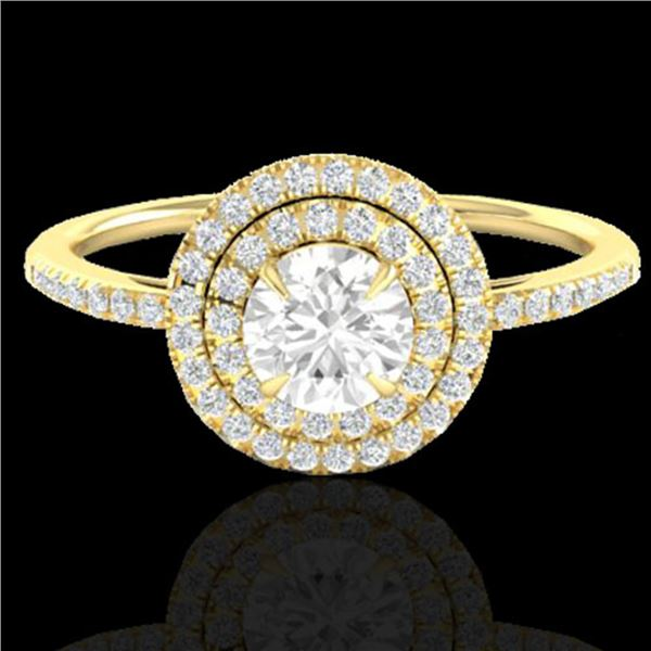 1 ctw Micro Pave VS/SI Diamond Solitaire Ring Halo 18k Yellow Gold - REF-153X6A