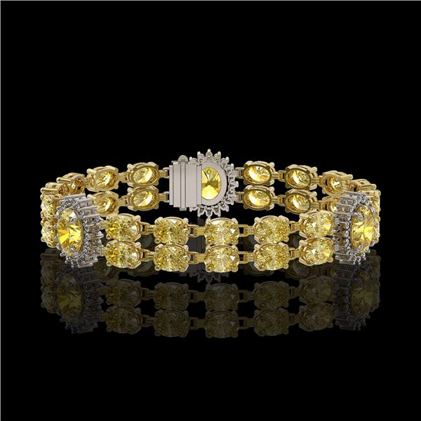 15.74 ctw Citrine & Diamond Bracelet 14K Yellow Gold - REF-254K5Y