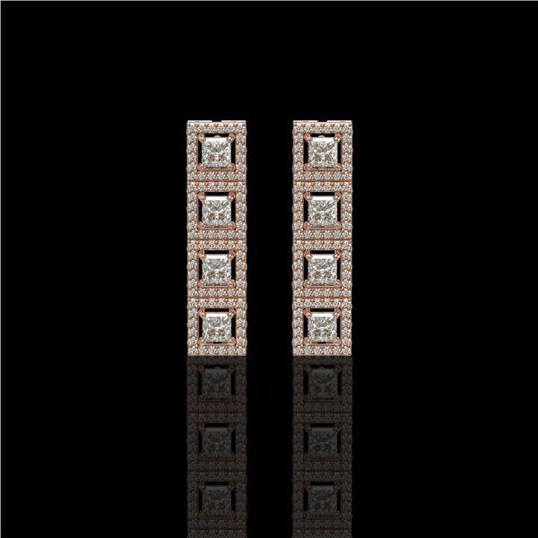4.01 ctw Princess Cut Diamond Micro Pave Earrings 18K Rose Gold - REF-346W3H