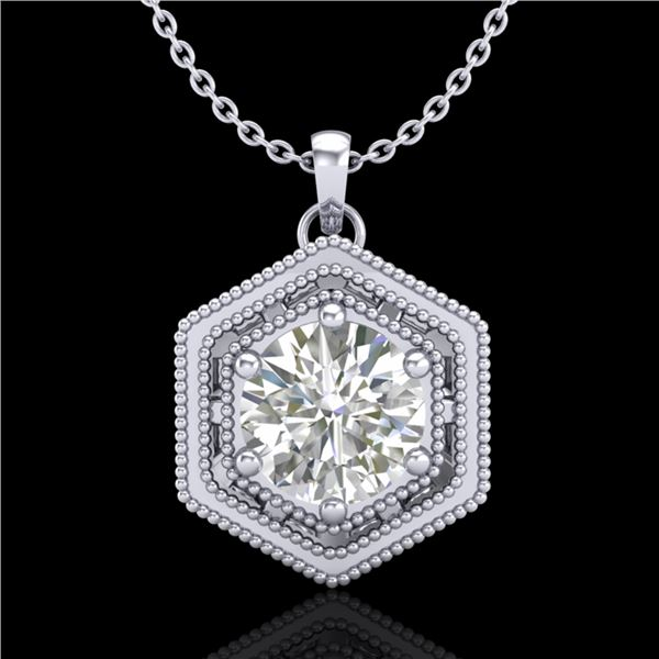 0.76 ctw VS/SI Diamond Solitaire Art Deco Stud Necklace 18k White Gold - REF-178X2A