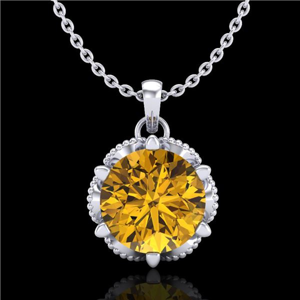 1.36 ctw Intense Fancy Yellow Diamond Art Deco Necklace 18k White Gold - REF-272N8F