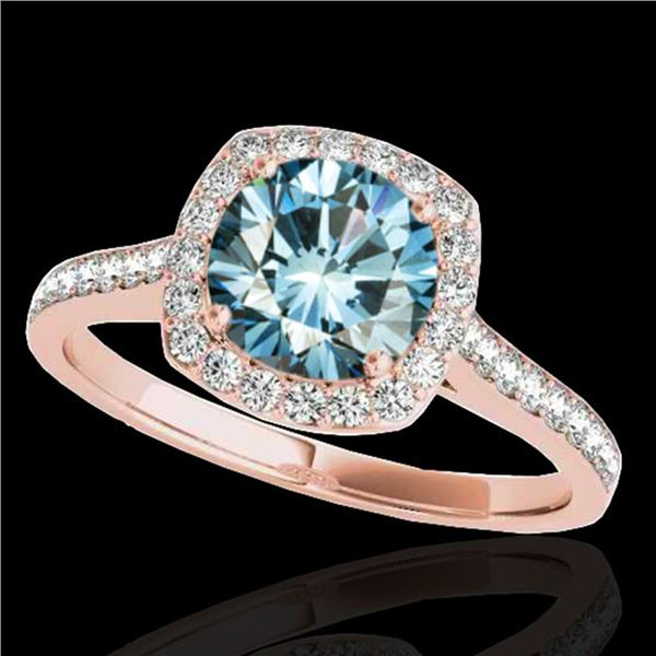 1.4 ctw SI Certified Fancy Blue Diamond Solitaire Halo Ring 10k Rose Gold - REF-132X3A