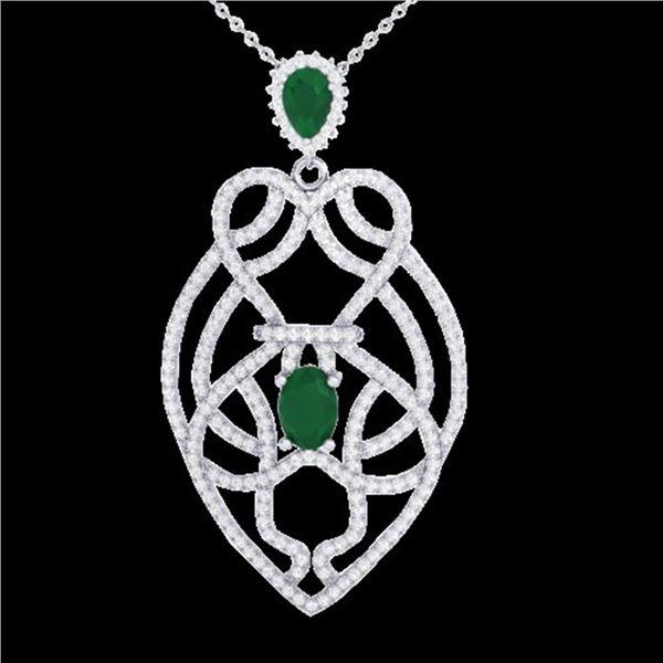 3.50 ctw Emerald & Micro VS/SI Diamond Heart Necklace 14k White Gold - REF-179Y6X