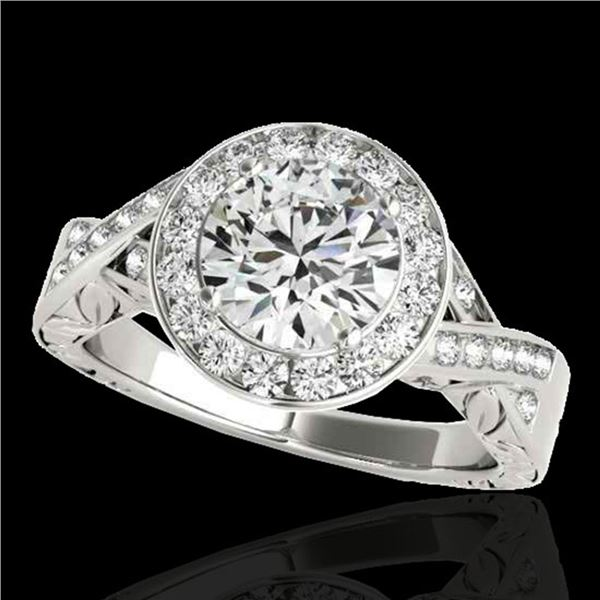 1.75 ctw Certified Diamond Solitaire Halo Ring 10k White Gold - REF-354H5R