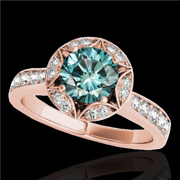 1.5 ctw SI Certified Fancy Blue Diamond Solitaire Halo Ring 10k Rose Gold - REF-135Y2X