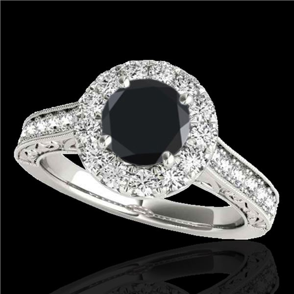 1.7 ctw Certified VS Black Diamond Solitaire Halo Ring 10k White Gold - REF-77F8M