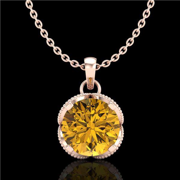1.13 ctw Intense Fancy Yellow Diamond Art Deco Necklace 18k Rose Gold - REF-136F4M