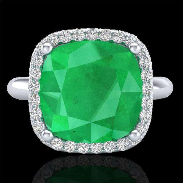 6 ctw Emerald & Micro Pave Halo VS/SI Diamond Ring 18k White Gold - REF-101M8G