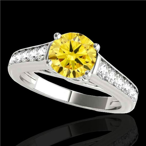 1.5 ctw Certified SI/I Fancy Intense Yellow Diamond Ring 10k White Gold - REF-204W5H