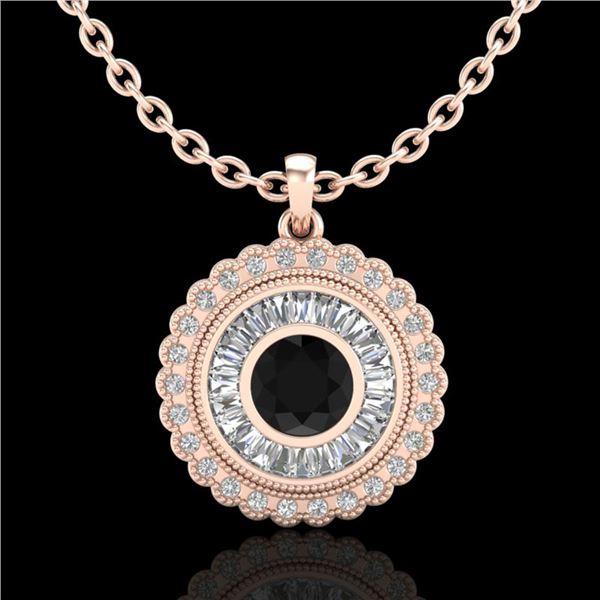 2.11 ctw Fancy Black Diamond Art Deco Stud Necklace 18k Rose Gold - REF-180Y2X