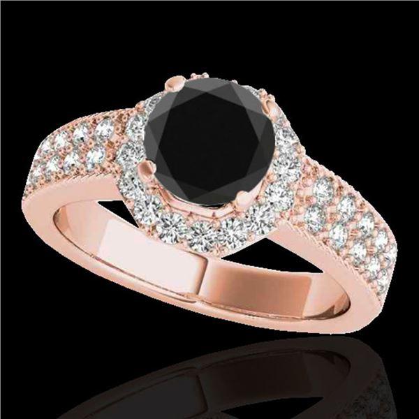1.4 ctw Certified VS Black Diamond Solitaire Halo Ring 10k Rose Gold - REF-55R8K