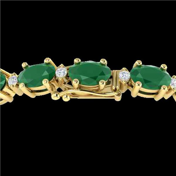 30.8 ctw Emerald & VS/SI Diamond Eternity Bracelet 10k Yellow Gold - REF-245G5W