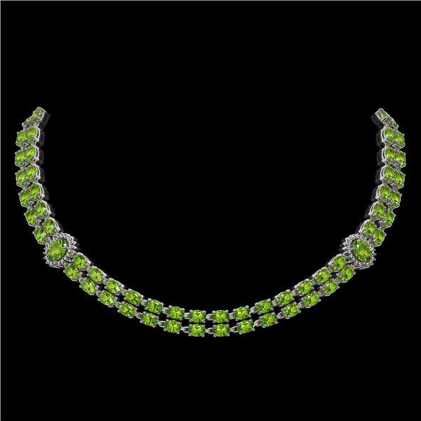 38.1 ctw Peridot & Diamond Necklace 14K White Gold - REF-454W5H