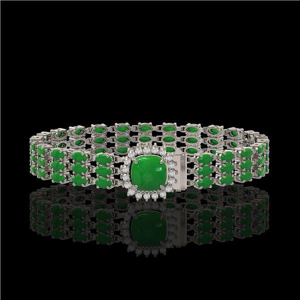 20.93 ctw Jade & Diamond Bracelet 14K White Gold - REF-281R8K