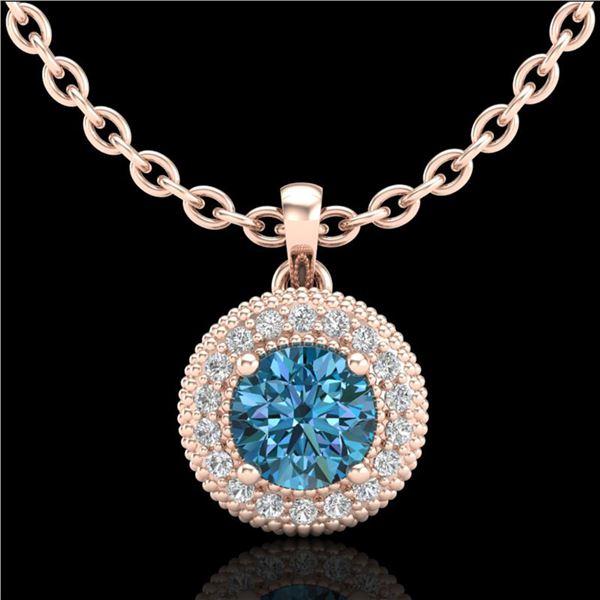 1 ctw Intense Blue Diamond Art Deco Stud Necklace 18k Rose Gold - REF-138N2F