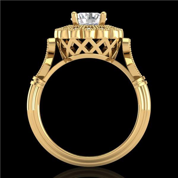 1.2 ctw VS/SI Diamond Solitaire Art Deco Ring 18k Yellow Gold - REF-345N2F