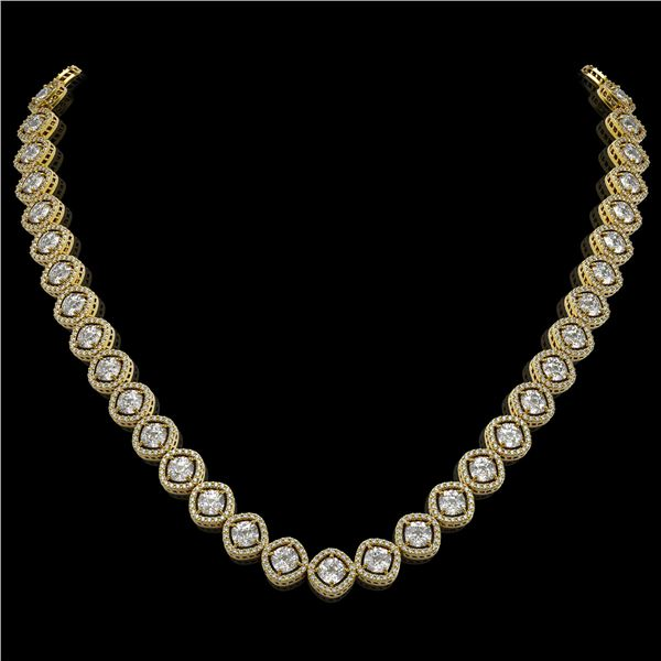 29.37 ctw Cushion Cut Diamond Micro Pave Necklace 18K Yellow Gold - REF-3956N6F