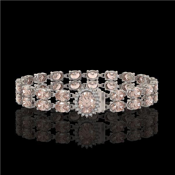 27.57 ctw Morganite & Diamond Bracelet 14K White Gold - REF-400A2N