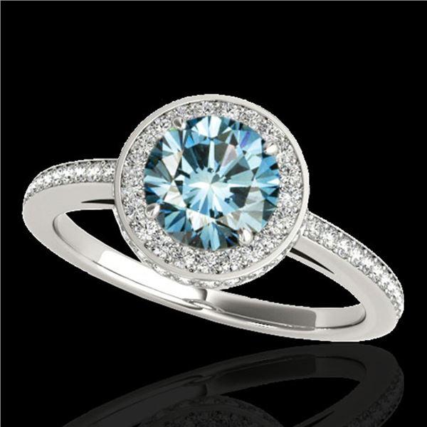 1.55 ctw SI Certified Fancy Blue Diamond Halo Ring 10k White Gold - REF-135G2W