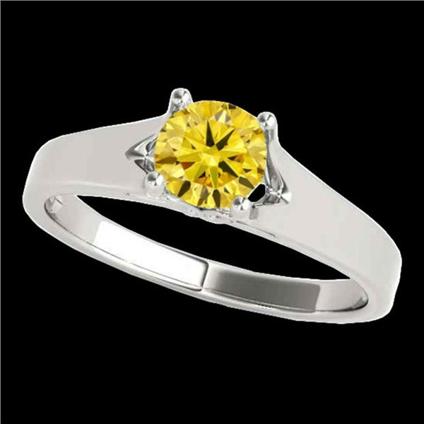 1 ctw Certified SI/I Fancy Intense Yellow Diamond Ring 10k White Gold - REF-184K3Y