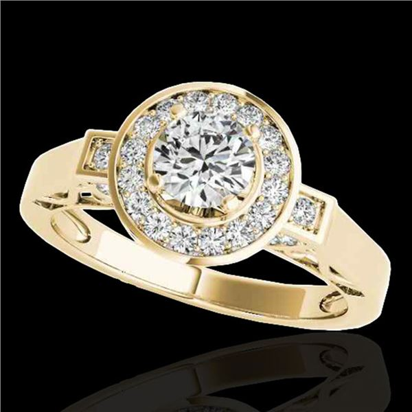 1.5 ctw Certified Diamond Solitaire Halo Ring 10k Yellow Gold - REF-204G5W