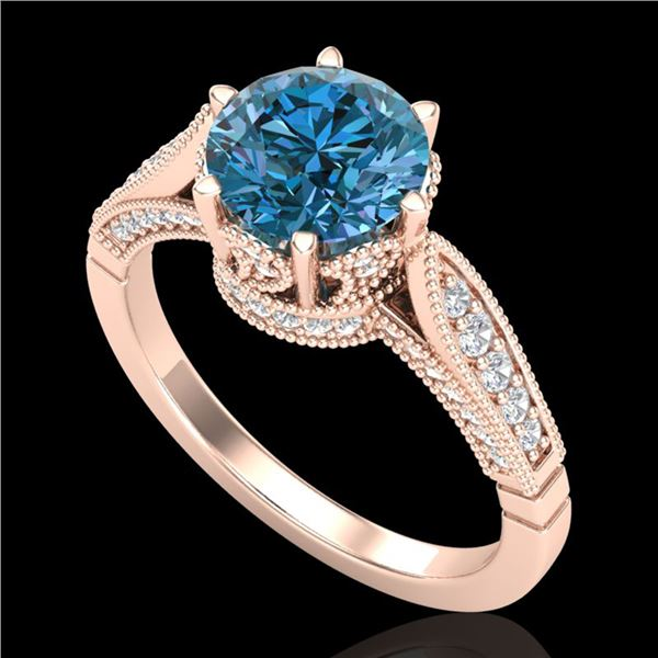 2.2 ctw Intense Blue Diamond Engagment Art Deco Ring 18k Rose Gold - REF-314R5K