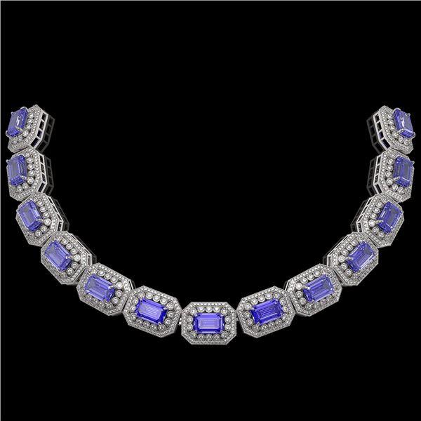 112.65 ctw Tanzanite & Diamond Victorian Necklace 14K White Gold - REF-5818N2F