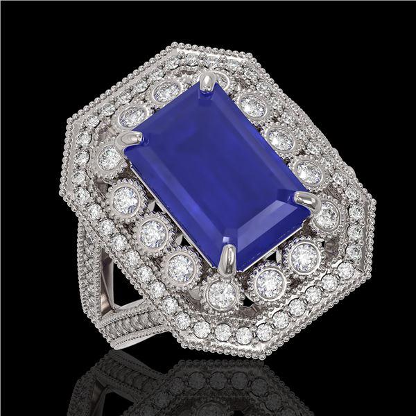 7.11 ctw Certified Sapphire & Diamond Victorian Ring 14K White Gold - REF-171H5R