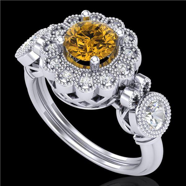 1.5 ctw Intense Fancy Yellow Diamond Art Deco Ring 18k White Gold - REF-309R3K