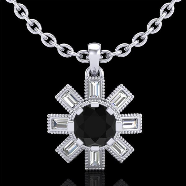 1.33 ctw Fancy Black Diamond Art Deco Stud Necklace 18k White Gold - REF-136K4Y