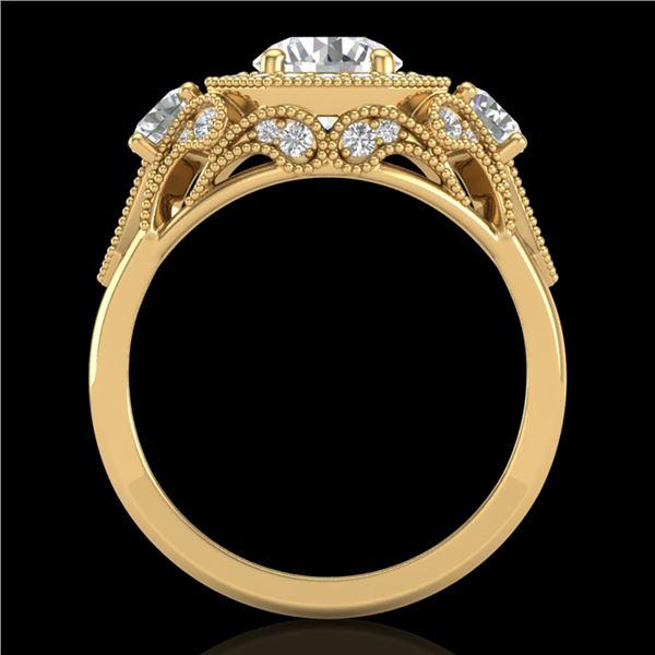 2.11 ctw VS/SI Diamond Solitaire Art Deco 3 Stone Ring 18k Yellow Gold - REF-490R9K