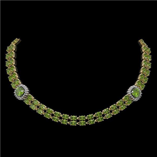 38.37 ctw Tourmaline & Diamond Necklace 14K Yellow Gold - REF-527X3A