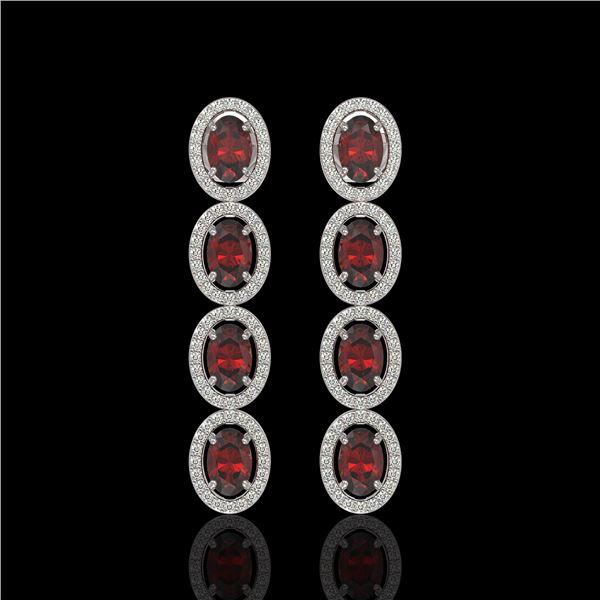 6.2 ctw Garnet & Diamond Micro Pave Halo Earrings 10k White Gold - REF-143H6R