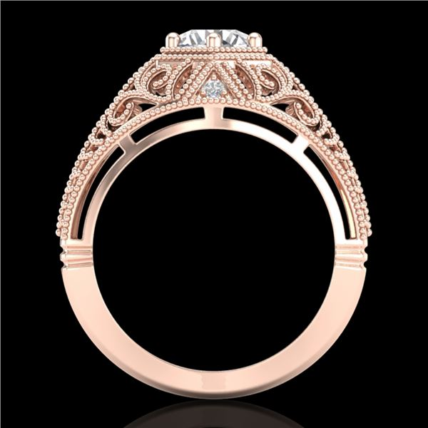 1.07 ctw VS/SI Diamond Solitaire Art Deco Ring 18k Rose Gold - REF-322H5R