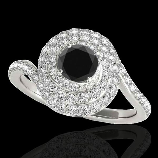1.86 ctw Certified VS Black Diamond Solitaire Halo Ring 10k White Gold - REF-66H8R