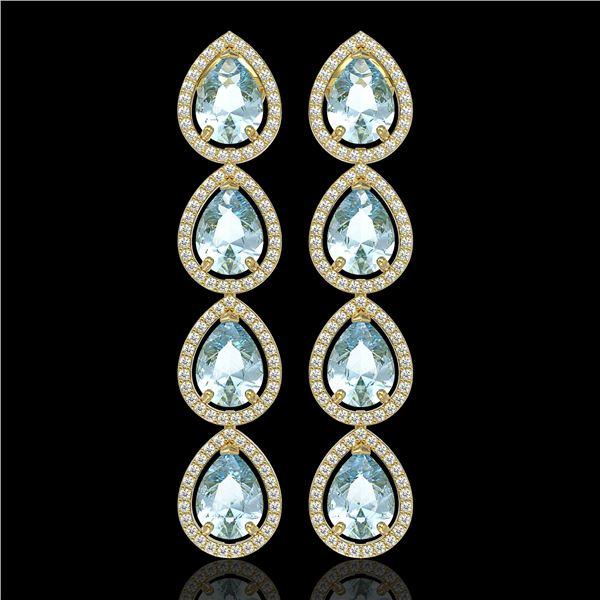 10.4 ctw Sky Topaz & Diamond Micro Pave Halo Earrings 10k Yellow Gold - REF-172R8K