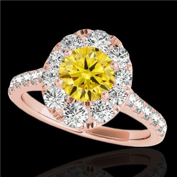 2 ctw Certified SI/I Fancy Intense Yellow Diamond Halo Ring 10k Rose Gold - REF-229Y3X