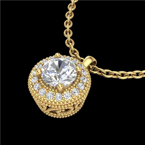 1 ctw VS/SI Diamond Solitaire Art Deco Stud Necklace 18k Yellow Gold - REF-180A2N