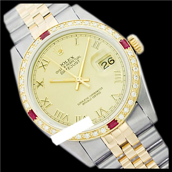 Rolex Men's Two Tone 14K Gold/SS, QuickSet, Roman Dial & Diam/Ruby Bezel