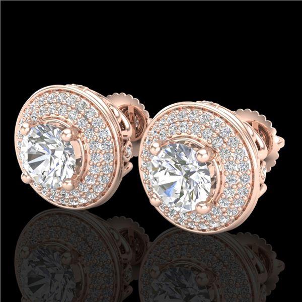 2.35 ctw VS/SI Diamond Solitaire Art Deco Stud Earrings 18k Rose Gold - REF-345X5A