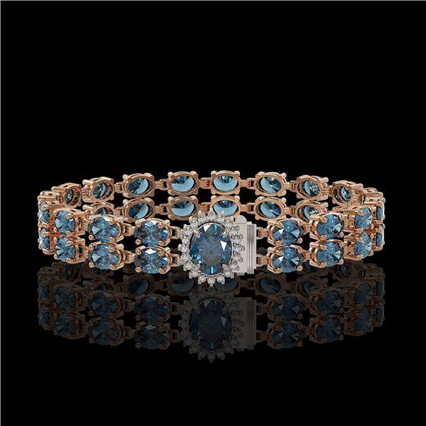 17.78 ctw London Topaz & Diamond Bracelet 14K Rose Gold - REF-209H3R