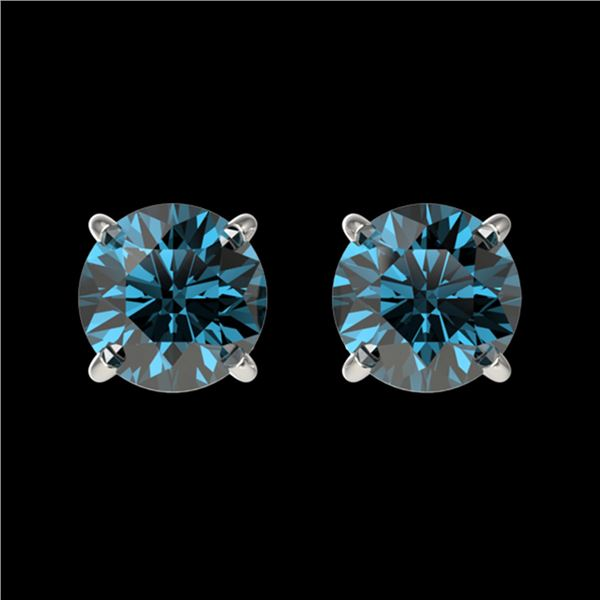 1.08 ctw Certified Intense Blue Diamond Stud Earrings 10k White Gold - REF-71M2G