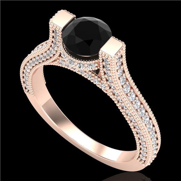 2 ctw Fancy Black Diamond Engagment Micro Pave Ring 18k Rose Gold - REF-160M2G