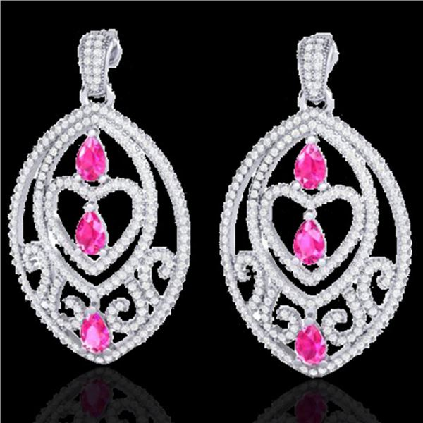 7 ctw Sapphire Pink & Micro Pave Diamond Heart Earrings 18k White Gold - REF-418M2G