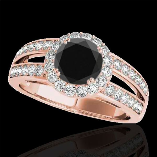 1.6 ctw Certified Black Diamond Solitaire Halo Ring 10k Rose Gold - REF-64F3M