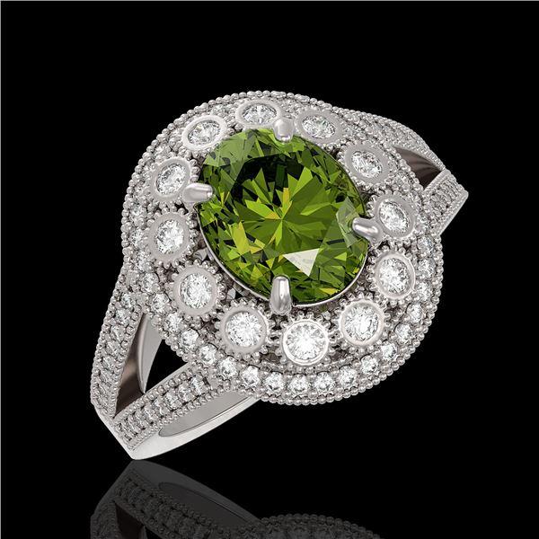 4.25 ctw Certified Tourmaline & Diamond Victorian Ring 14K White Gold - REF-132F8M