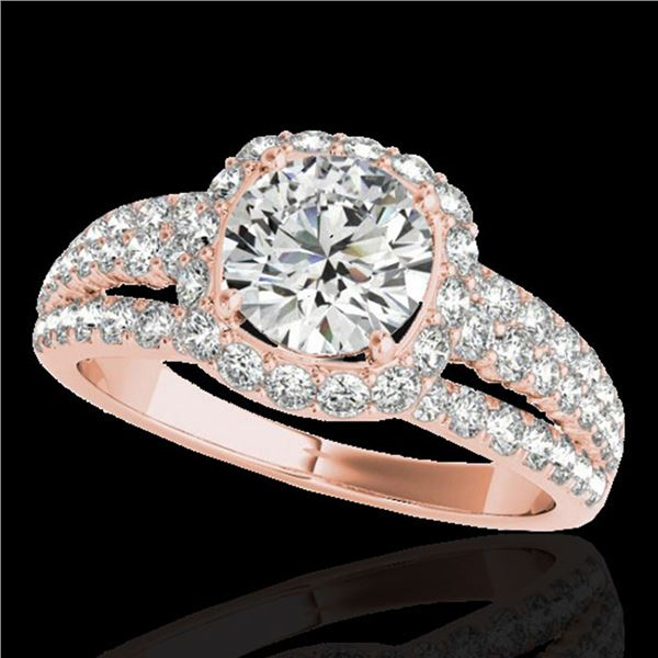 2.25 ctw Certified Diamond Solitaire Halo Ring 10k Rose Gold - REF-237G3W