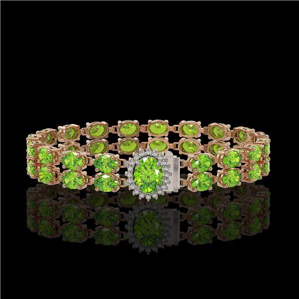 26.52 ctw Peridot & Diamond Bracelet 14K Rose Gold - REF-244N8F